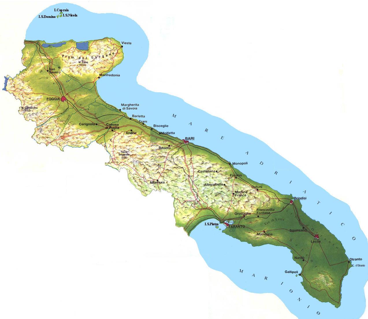 Cartina Geografica Fisica Puglia.Viaggio In Puglia